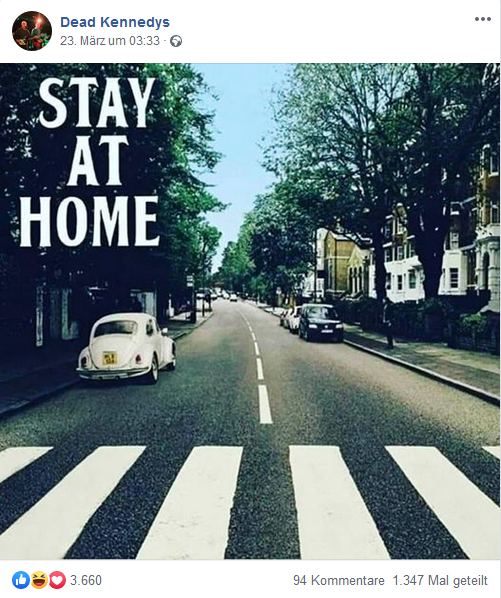 "Stay at home: das Plattencover der Beatles-Platte ""Abbey Road"" verändert und die Beatles herausretuschiert."