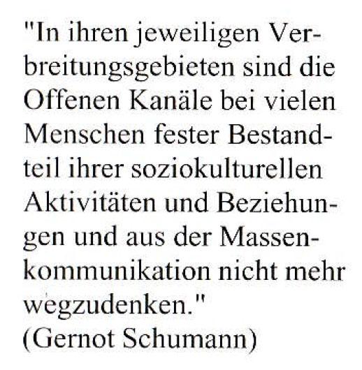 Zitat von Gernot Schumann aus einer Werbebroschüre von tv münster