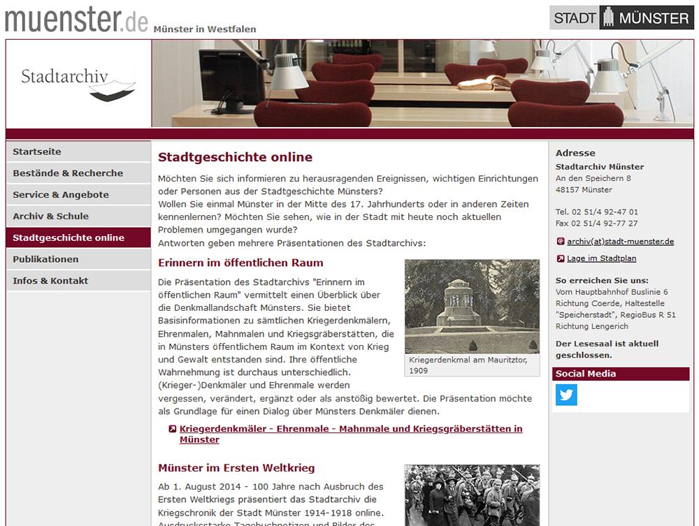 Stadtarchiv: Stadtgeschichte online